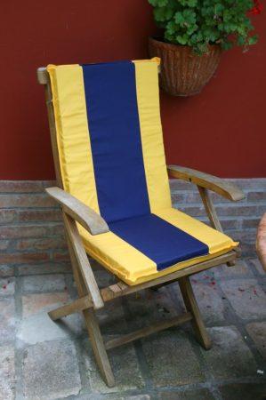 P012 párna, hátpárnával napsárga, kék betéttel